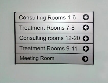 A directory sign on a wall