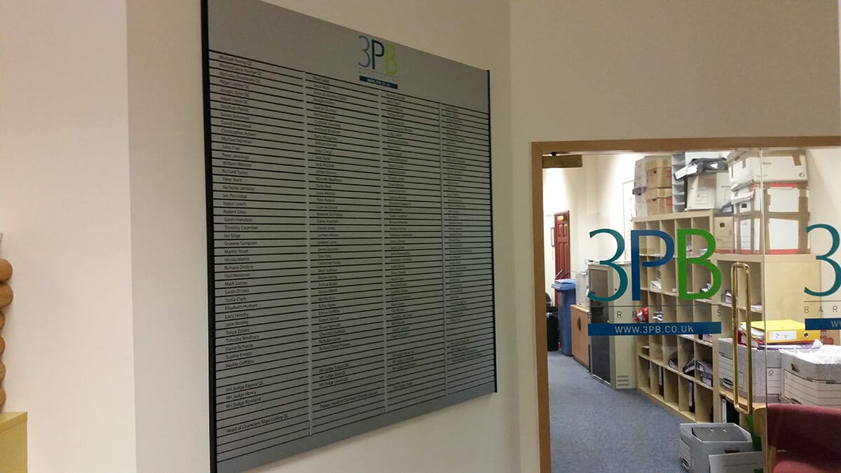 Tenent Directory in Office Reception Area