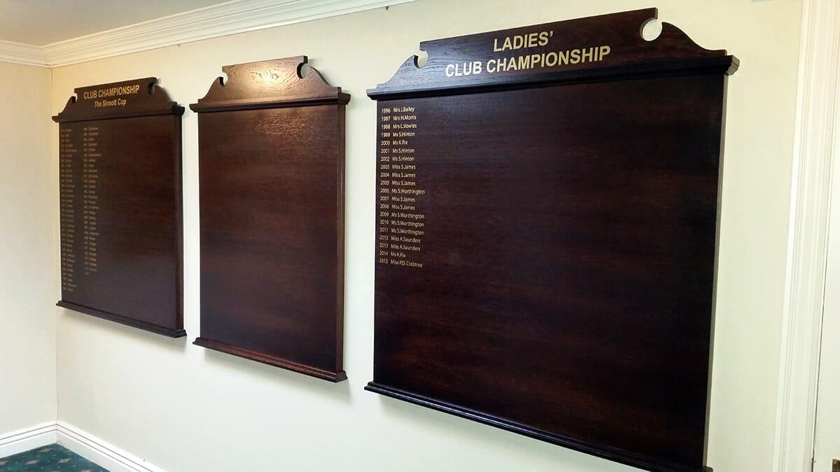 Wooden Honours Board