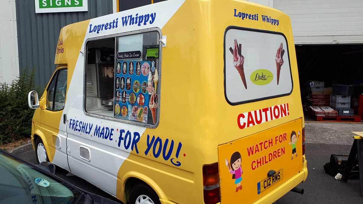 Van Sign Writing on Ice Cream Van