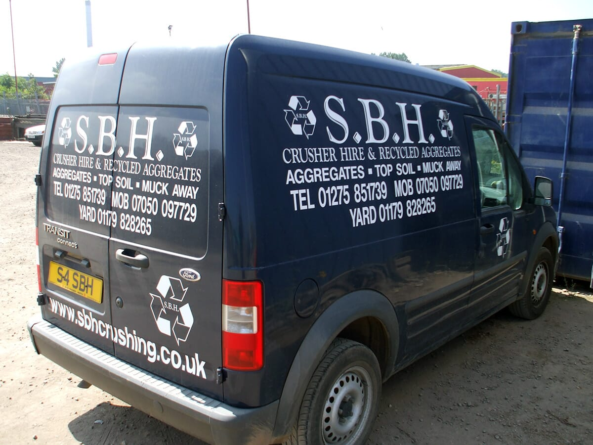 Van Sign Writing on a Works Van