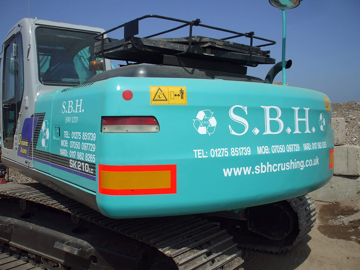 Sign Writing on Construction Equipment