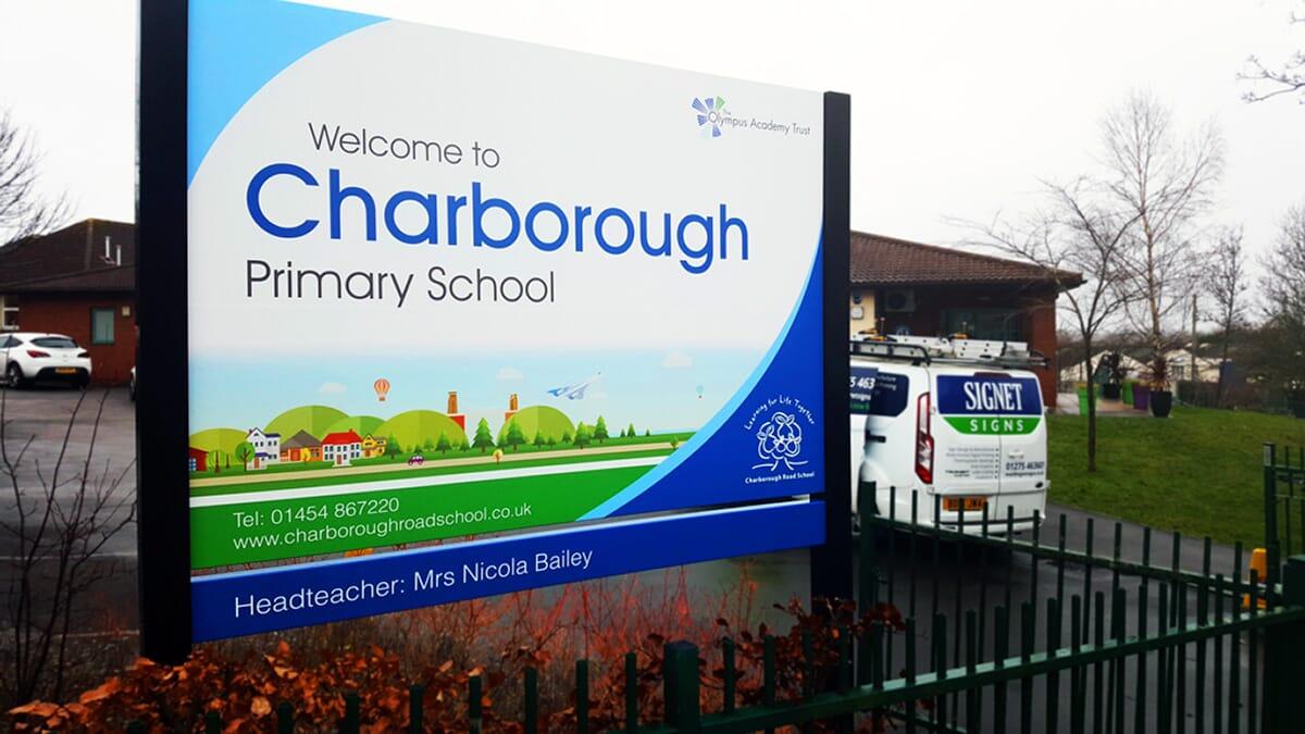 School Sign on posts
