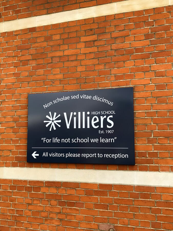 Folded Tray Sign for a School