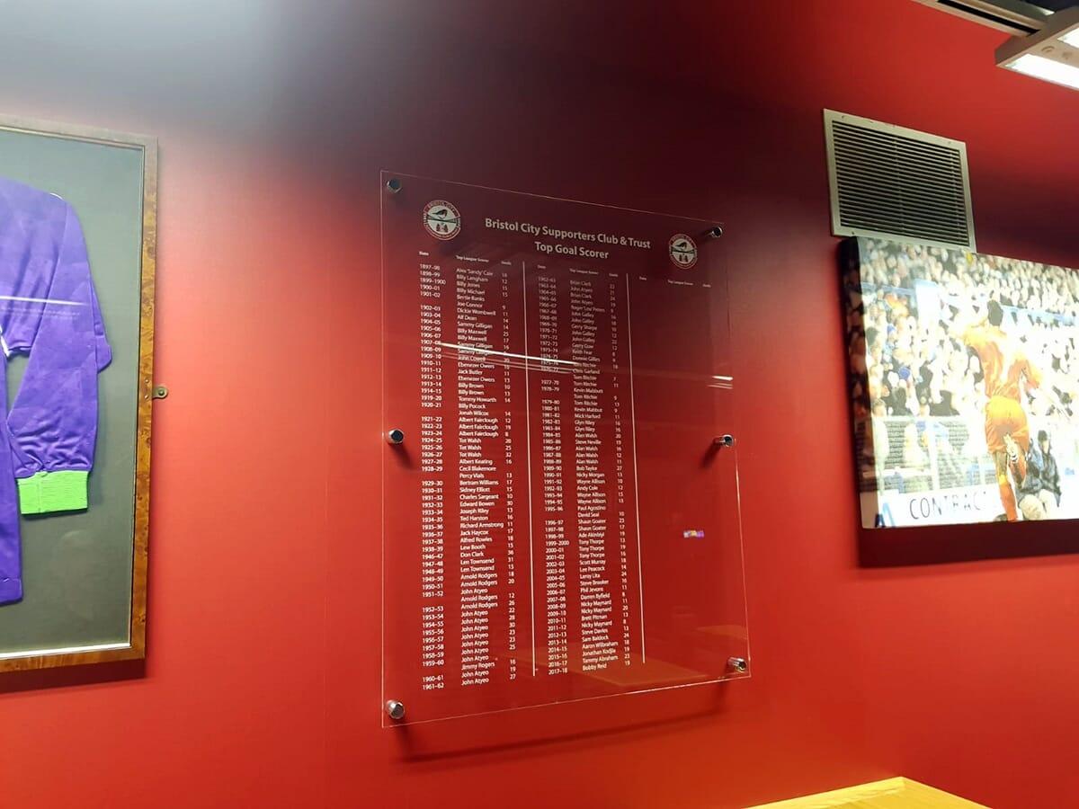 Football Club Acrylic Honours Board