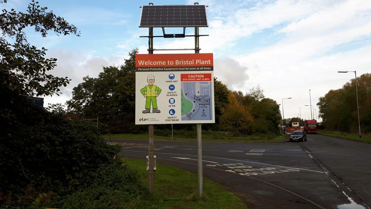 Solar powered light on a sign